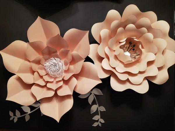 two large peach coloured paper flowers with a white paper center along with an accent of paper greenery to the bottom center and left of the large flower on the left..